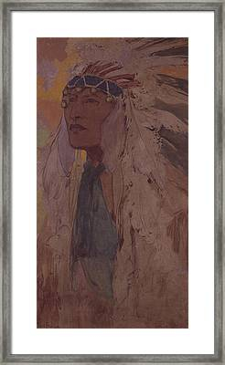 The Indian, 1904 Wc On Paper Framed Print by Alphonse Marie Mucha