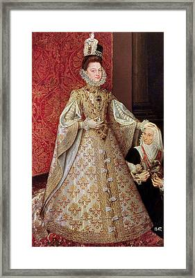 The Infanta Isabel Clara Eugenia 1566-1633 With The Dwarf, Magdalena Ruiz, C.1580 Oil On Canvas Framed Print by Alonso Sanchez Coello