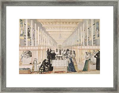 The Infirmary Of The Sisters Of Charity During A Visit Of Anne Of Austria  Framed Print by Abraham Bosse