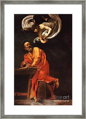 The Inspiration Of Saint Matthew Framed Print by Pg Reproductions