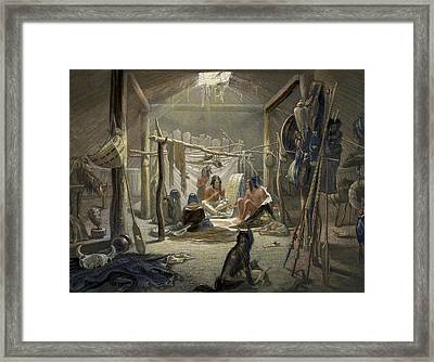 The Interior Of A Hut Of A Mandan Chief Framed Print by Karl Bodmer