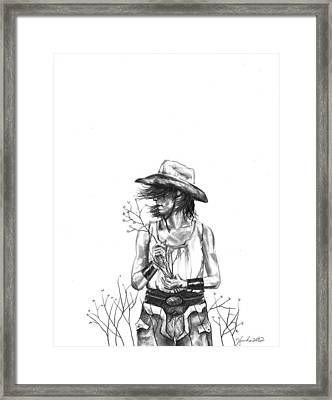 Cowboy Pencil Drawings Framed Print featuring the drawing The Iron Cowgirl by J Ferwerda