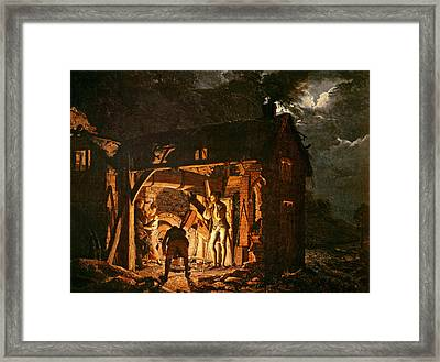 The Iron Forge Viewed From Without, C.1770s Oil On Canvas Framed Print by Joseph Wright of Derby