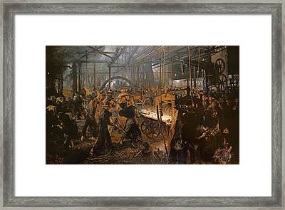 The Iron-rolling Mill Oil On Canvas, 1875 Framed Print by Adolph Friedrich Erdmann von Menzel