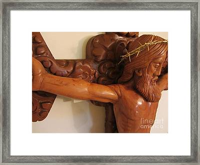 The Jesus Christ Sculpture Wood Work Wood Carving Poplar Wood Great For Church 5 Framed Print by Persian Art