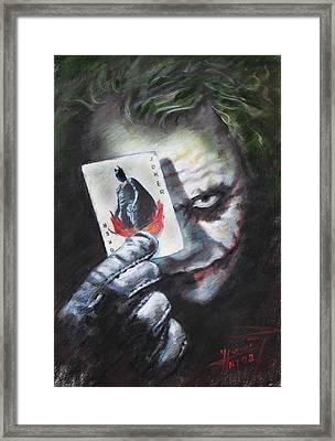 The Joker Heath Ledger  Framed Print by Viola El