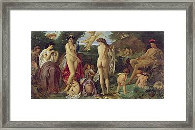 The Judgement Of Paris, 1870 Oil On Canvas Framed Print by Anselm Feuerbach
