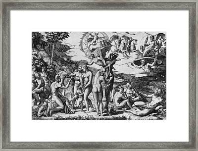 The Judgement Of Paris Framed Print by Marcantonio Raimondi