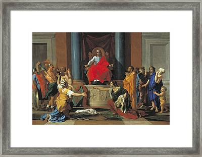 The Judgement Of Solomon, 1649 Oil On Canvas Framed Print by Nicolas Poussin