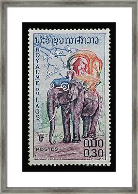 The King's Elephant Vintage Postage Stamp Print Framed Print by Andy Prendy