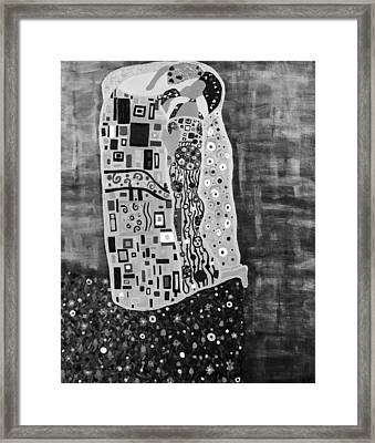The Kiss Bw Framed Print by Angelina Vick