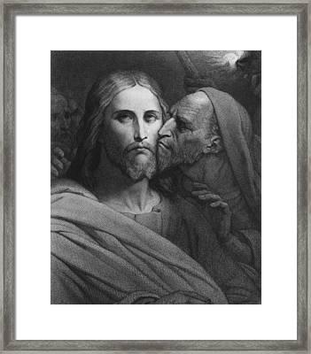 The Kiss Of Judas Framed Print by Ary Scheffer