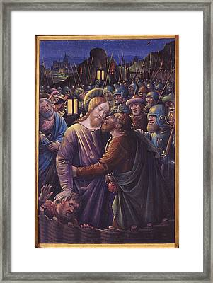 The Kiss Of Judas, End Of 15th Century Vellum Framed Print by Jean Bourdichon