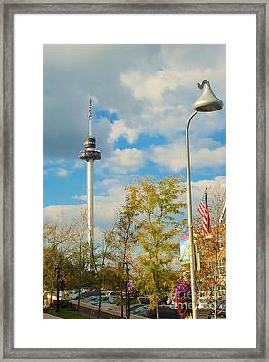 The Kissing Tower And Observation Booth And Hershey's Kiss Street Light Framed Print by Mark Dodd