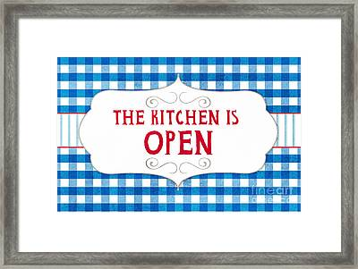 The Kitchen Is Open Framed Print by Linda Woods