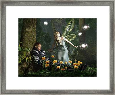 The Knight And The Faerie Framed Print by Daniel Eskridge