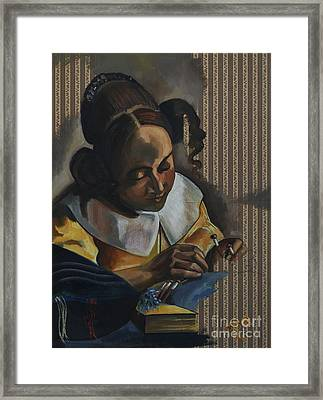 The Lacemaker After Vermeer From Series Visiting Vermeer's Women By Myra O'reilly Framed Print by Myra O Reilly