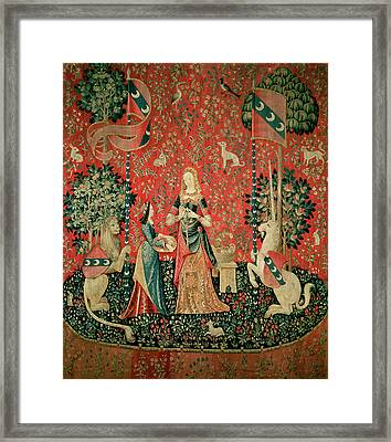 The Lady And The Unicorn Smell Tapestry Framed Print by French School