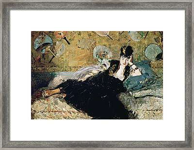 The Lady With Fans, Portrait Of Nina De Callias Framed Print by Edouard Manet
