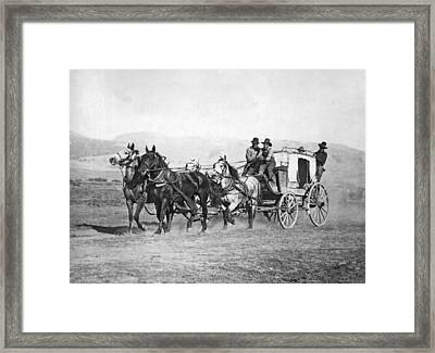 The Last Montana Stage Coach Framed Print by Underwood Archives