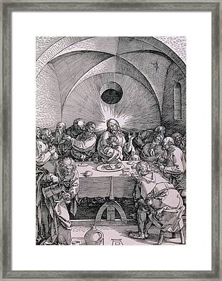 The Last Supper From The 'great Passion' Series Framed Print by Albrecht Duerer