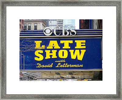 The Late Show With David Letterman Framed Print by Kenneth Summers