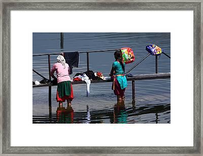 The Laundry - Nepal Framed Print by Aidan Moran