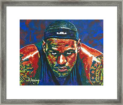 The Lebron Death Stare Framed Print by Maria Arango