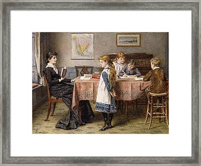 The Lesson Framed Print by  George Goodwin Kilburne
