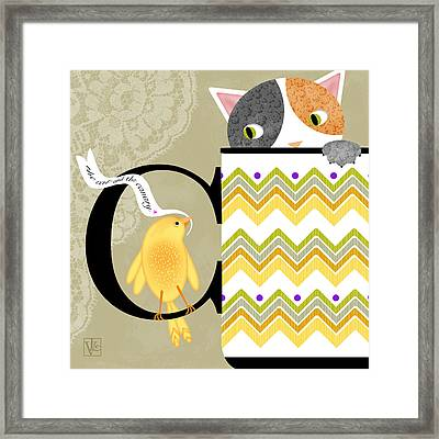 The Letter C For Cat And Canary Framed Print by Valerie Drake Lesiak