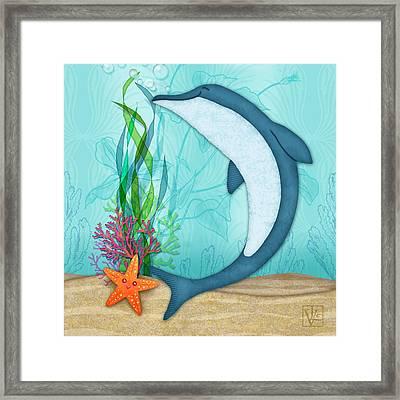 The Letter D For Dolphin Framed Print by Valerie Drake Lesiak