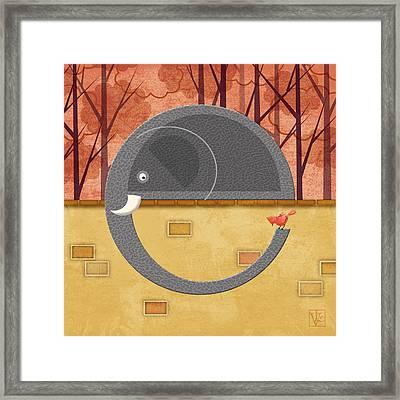 The Letter E For Elephant Framed Print by Valerie Drake Lesiak