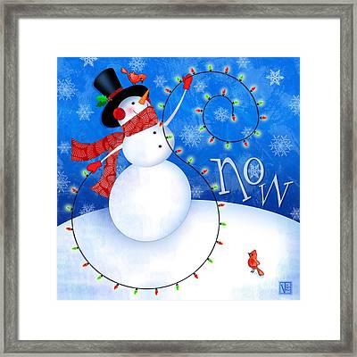 The Letter S For Snowman Framed Print by Valerie Drake Lesiak