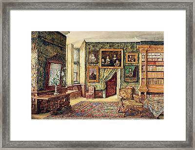 The Library At Hardwick Hall Framed Print by W. Nicholson