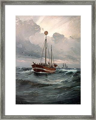 The Light Ship At Skagen Reef Framed Print by Mountain Dreams