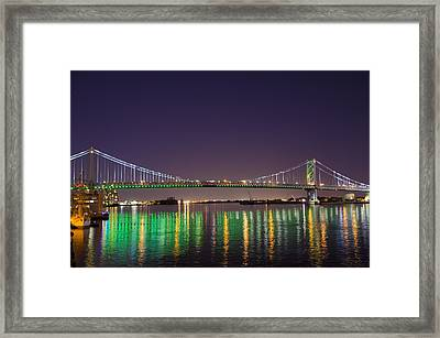 The Lighted Ben Franklin Bridge Framed Print by Bill Cannon