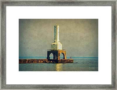 The Lighthouse And The Fisherman Framed Print by Mary Machare