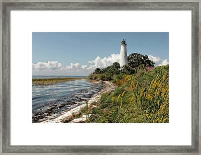 The Lighthouse At St. Marks Framed Print by Lynn Jordan
