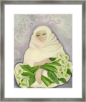 The Lily Seller, 1989 Acrylic On Canvas Framed Print by Laila Shawa