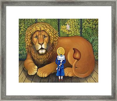 The Lion And Albert, 2001 Framed Print by Frances Broomfield
