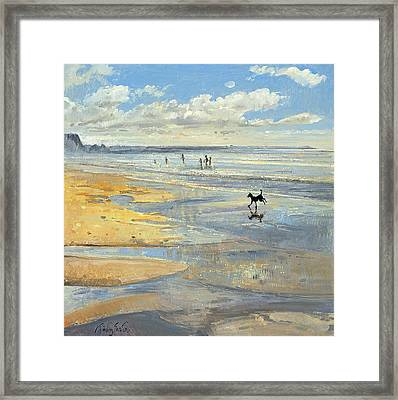 The Little Acrobat Oil On Canvas Framed Print by Timothy Easton
