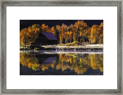 The Little Barn On The Lake Framed Print by Teri Virbickis