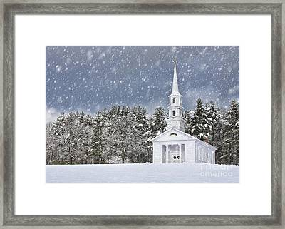 The Little Chapel In Winter Framed Print by Jayne Carney