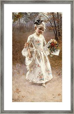 The Little Flower Girl  Framed Print by Albert Raudnitz