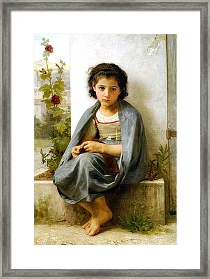 The Little Knitter Framed Print by William Bouguereau