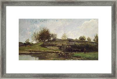 The Lock At Optevoz Framed Print by Charles Francois Daubigny