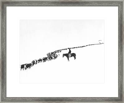 The Long Long Line Framed Print by Underwood Archives  Charles Belden