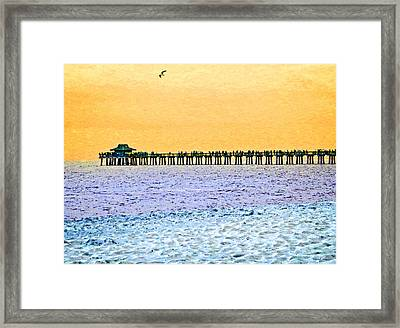The Long Pier - Art By Sharon Cummings Framed Print by Sharon Cummings