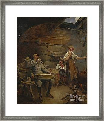 The Lord And The Porridge With Sour Cream Framed Print by Nils Bergslien