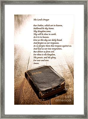 The Lord's Prayer And Bible Framed Print by Olivier Le Queinec